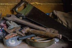 Mecânico idoso das ferramentas fotografia de stock