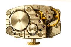 Mecânico velho do maquinismo de relojoaria Feche acima, tiro macro O vintage alinha vi Fotos de Stock