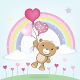 Teddy Bear flies with heart shaped balloons vector illustration