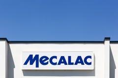 Mecalac logo på en byggnad Royaltyfri Bild