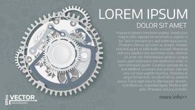 Mecanismo abstrato do maquinismo de relojoaria Engrenagens brancas com centro na GR Imagens de Stock