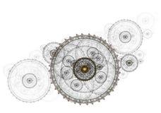 Mecanismo antigo, maquinismo de relojoaria metálico ilustração stock