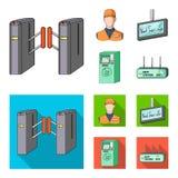Mecanismo, bonde, transporte, e o outro ícone da Web nos desenhos animados, estilo liso Passagem, público, transporte, ícones no  ilustração do vetor
