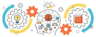 Mecanismo da ideia da partida de negócio do processo do pensamento no cérebro b do homem ilustração stock