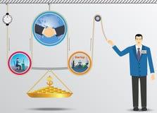 Mecanismo de elevación del negocio del dinero Fotografía de archivo libre de regalías