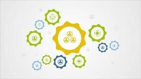 Mecanismo de engranajes móvil y animación social del vídeo de los iconos