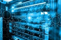 Mecanismo de engranajes, transformación digital, integración de datos y concepto de la tecnología digital stock de ilustración
