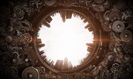 Mecanismo de engrenagem do metal Meios mistos fotos de stock royalty free