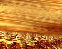 Mecanismo de engrenagem dourado, esticando no futuro em um fundo dourado ilustração 3D Fotografia de Stock