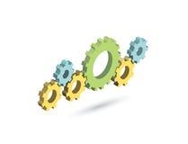 Mecanismo de engrenagem isométrico do vetor Ícone dos ajustes Imagens de Stock