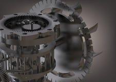Mecanismo de engrenagem de prata em um cinza imagens de stock