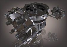 Mecanismo de engrenagem de prata em um cinza fotografia de stock