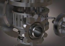 Mecanismo de engrenagem de prata em um cinza foto de stock royalty free