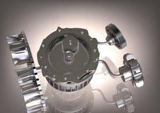 Mecanismo de engrenagem de prata em um cinza fotografia de stock royalty free