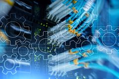 Mecanismo de engrenagens, transformação digital, integração de dados e conceito da tecnologia digital fotografia de stock