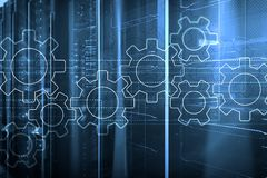Mecanismo de engrenagens, transformação digital, integração de dados e conceito da tecnologia digital fotos de stock royalty free