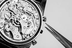 Mecanismo de relojería complejo para la reparación Imágenes de archivo libres de regalías