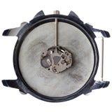 Mecanismo de relojería del cuarzo en reloj sucio viejo Fotografía de archivo libre de regalías