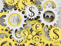 Mecanismo del dinero del oro y de la plata Imagenes de archivo