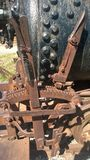 Mecanismo del freno del carro de la explotación minera del vintage Imagen de archivo