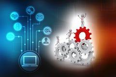 Mecanismo del hombre de negocios y de engranaje, Team Work Concept 3d rinden libre illustration