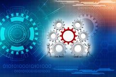 Mecanismo del hombre de negocios y de engranaje, Team Work Concept 3d rinden ilustración del vector