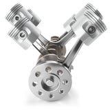 Mecanismo del motor de pistones del cigüeñal V6 ilustración del vector
