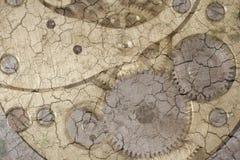 Mecanismo del reloj en la tierra seca Foto de archivo