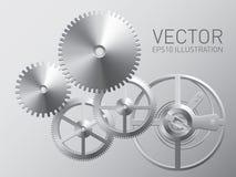 Mecanismo del vector con los engranajes y las ruedas dentadas del metal Foto de archivo