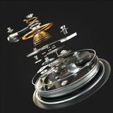 mecanismo do relógio 3d no fundo preto Fotografia de Stock Royalty Free