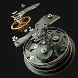 mecanismo do relógio 3d no fundo preto Foto de Stock Royalty Free