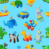 Mecanismo do toyshop da sala de jogos do mecânico do vetor da chave do brinquedo de maquinismo de relojoaria para o carro animal  ilustração stock