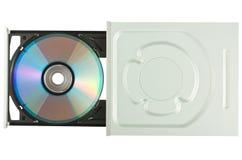 Mecanismo impulsor con el disco, visión superior de DVD Imagen de archivo libre de regalías