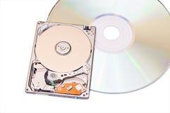 Mecanismo impulsor de disco duro y dics compacto aislados en blanco Fotos de archivo libres de regalías