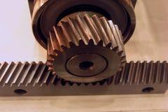 mecanismo impulsor del Engranaje-y-estante Foto de archivo