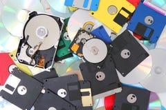 Mecanismo impulsor duro, disco blando, y CD-ROM Imágenes de archivo libres de regalías
