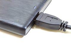 Mecanismo impulsor duro externo con el cable del usb Foto de archivo