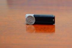 Mecanismo impulsor negro del flash del usb Foto de archivo libre de regalías