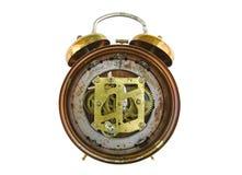 Mecanismo interno do despertador velho isolado sobre Imagens de Stock