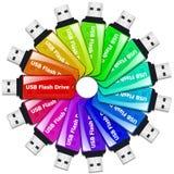 Mecanismos impulsores coloreados del flash del USB Fotografía de archivo libre de regalías