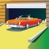 Mecanismos impulsores del coche del automóvil descubierto del garrage. Foto de archivo