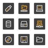 Mecanismos impulsores e iconos del Web del almacenaje, serie de los botones del gris Fotografía de archivo libre de regalías