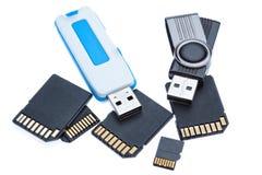 Mecanismos impulsores y Memory Stick. Foto de archivo libre de regalías
