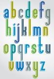 Mecanografiado colorido, letras minúsculas cómicas con el outl blanco stock de ilustración