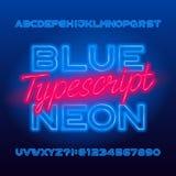 Mecanografiado de neón azul Mayúsculas y números azules de la bombilla del color libre illustration