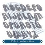 Mecanografiado geométrico en la rotación, caracteres industriales 3d ilustración del vector