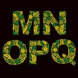 Mecanografiado ornamental, M, N, O, P, letras de Q adornadas con el herba stock de ilustración