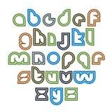 Mecanografiado redondeado inusual brillante, letras coloridas ilustración del vector