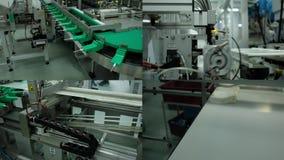 Mecatrônica Produção automatizada na fábrica Robô industrial 4 em 1 video estoque