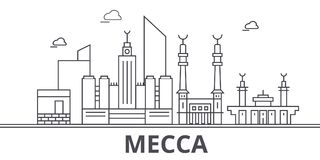 Mecca architecture line skyline illustration. Linear vector cityscape with famous landmarks, city sights, design icons. Editable strokes vector illustration